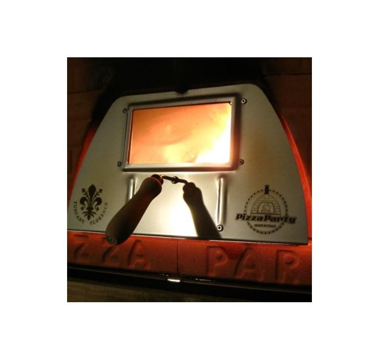 forno a legna con sportello con vetro facile e comodo da